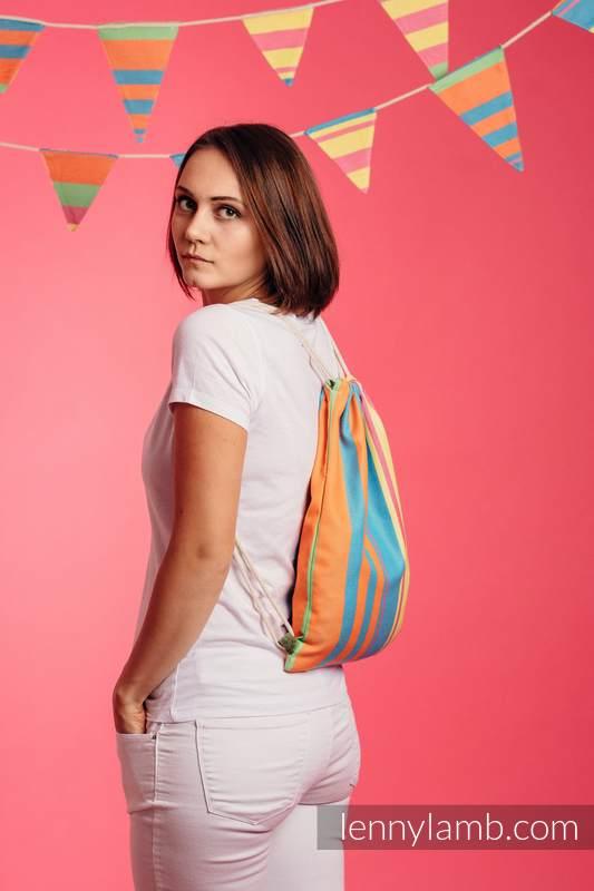 Sackpack made of wrap fabric (60% cotton 40% bamboo) - PINACOLADA - standard size 32cmx43cm #babywearing