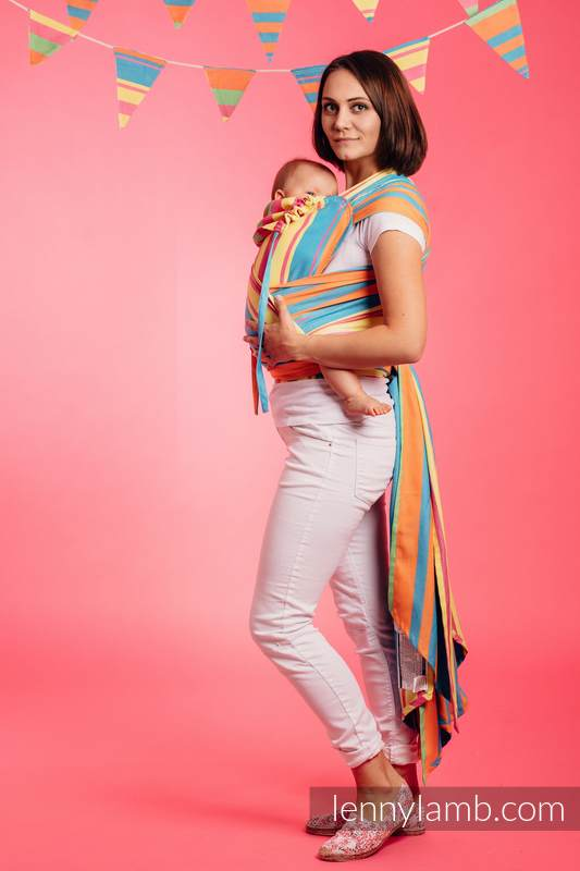 WRAP-TAI carrier Mini / broken twill / bamboo and cotton / with hood/ PINACOLADA #babywearing