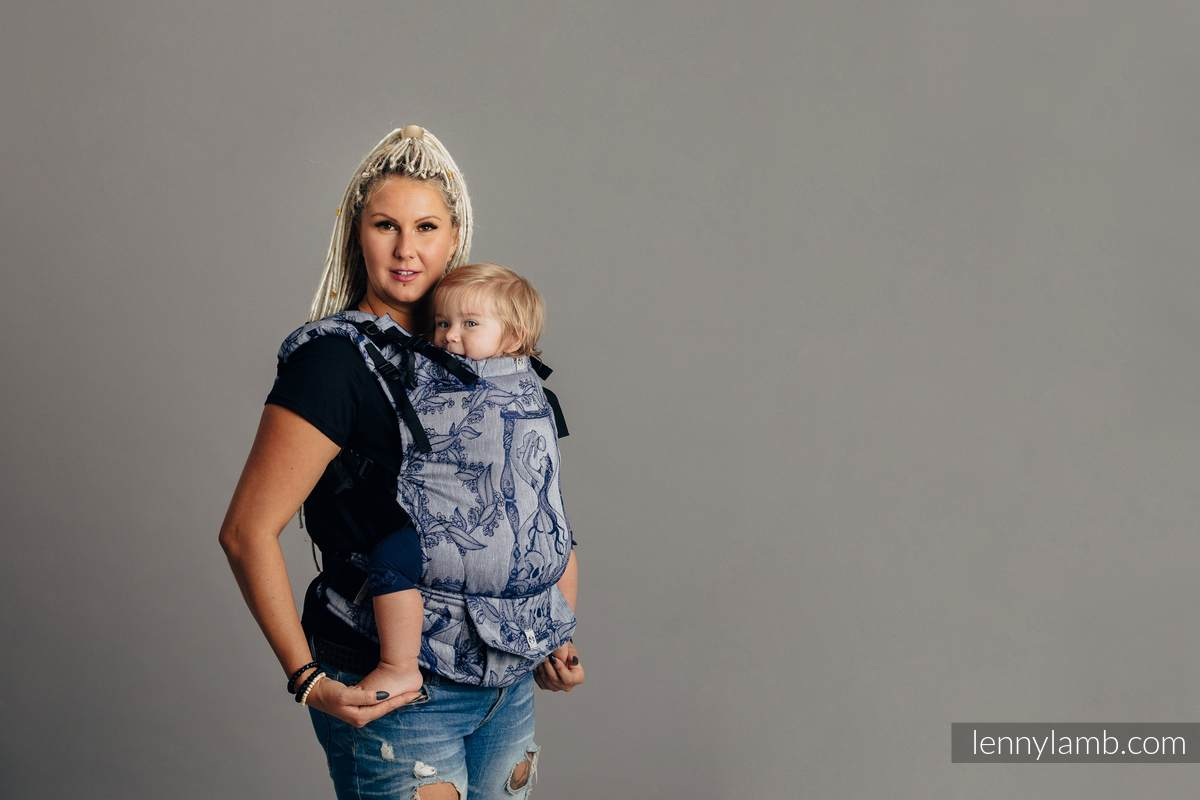 LennyUp Carrier, Standard Size, jacquard weave (65% cotton, 35% linen) - TIME OF NIGHT (with skull) #babywearing