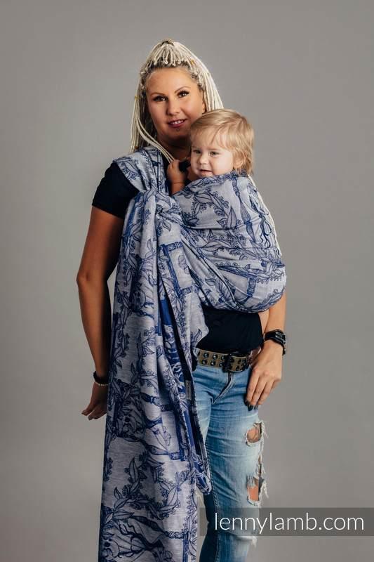 Żakardowa chusta do noszenia dzieci, 65% bawełna, 35% len - CZAS NOCY (z czaszką) - rozmiar XS #babywearing