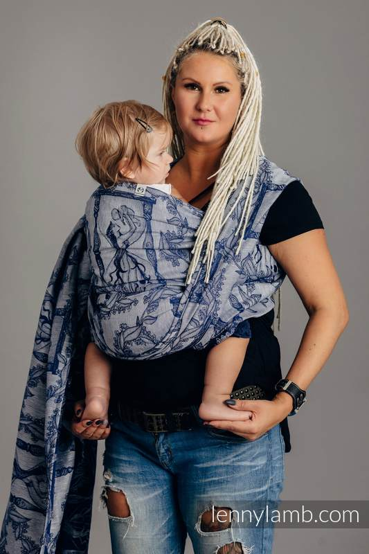 Écharpe, jacquard (65% cotton, 35% lin) - TIME OF NIGHT (with skull) - taille XS #babywearing