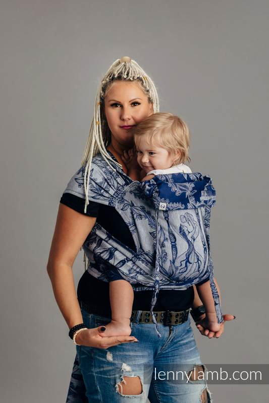 WRAP-TAI carrier Mini with hood, jacquard weave,  65% cotton, 35% linen - TIME OF NIGHT (with skull) #babywearing