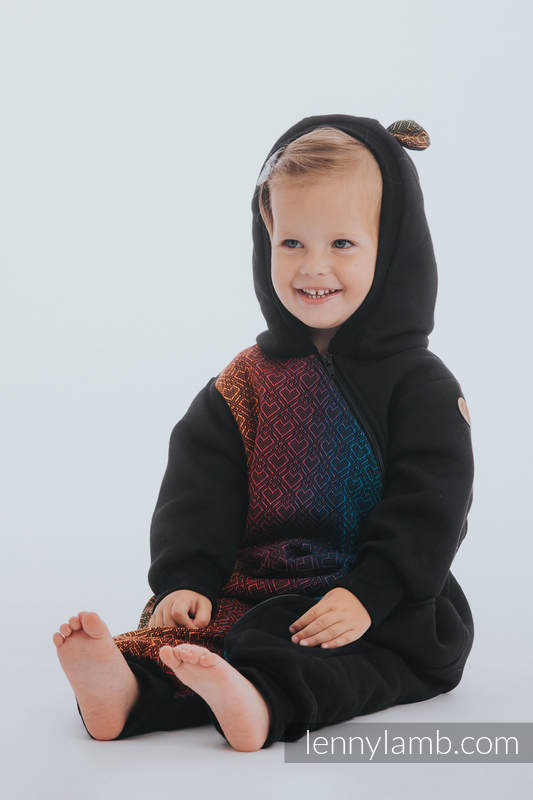 Bear Romper - size 110 - Black & Big Love Rainbow Dark #babywearing