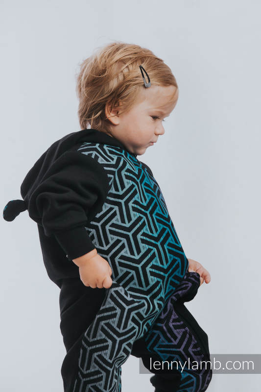 Grenouillère ours - taille 104 - Noir avec Trinity Cosmos #babywearing