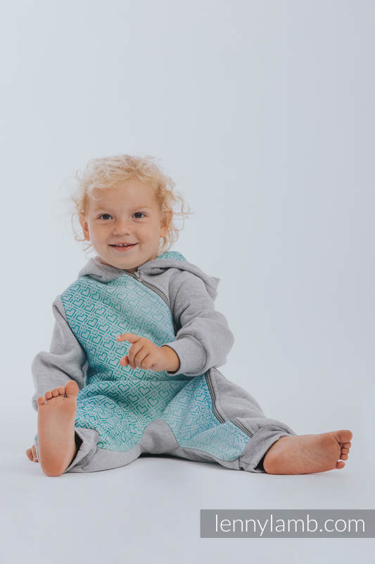Bear Romper - size 74 - Gray melange & Big Love Ice Mint #babywearing