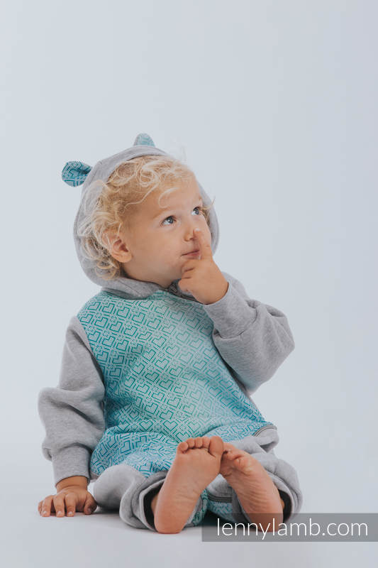 Bear Romper - size 92 - Gray melange & Big Love Ice Mint #babywearing