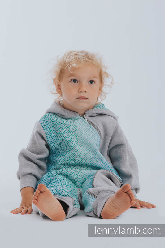 Bear Romper - size 80 - Gray melange & Big Love Ice Mint #babywearing