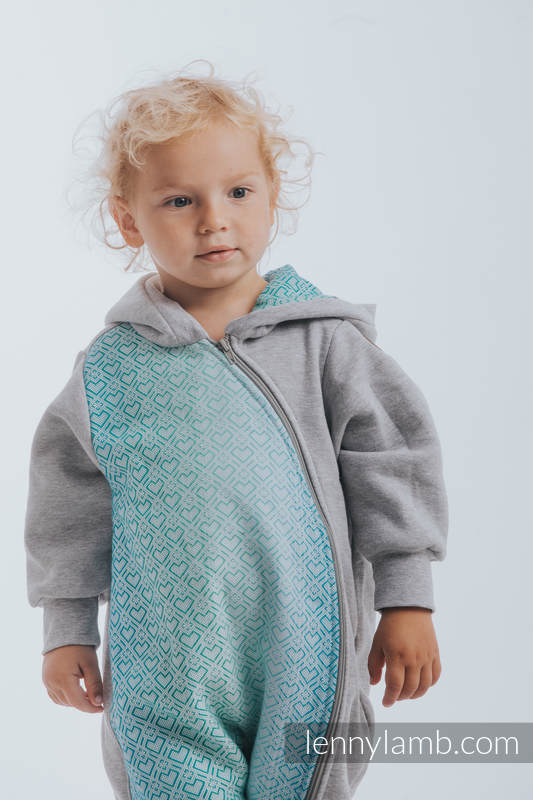Bear Romper - size 104 - Gray melange & Big Love Ice Mint #babywearing