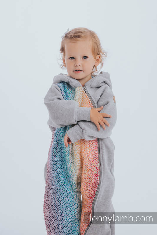Bear Romper - size 104 - Gray melange & Big Love Rainbow #babywearing