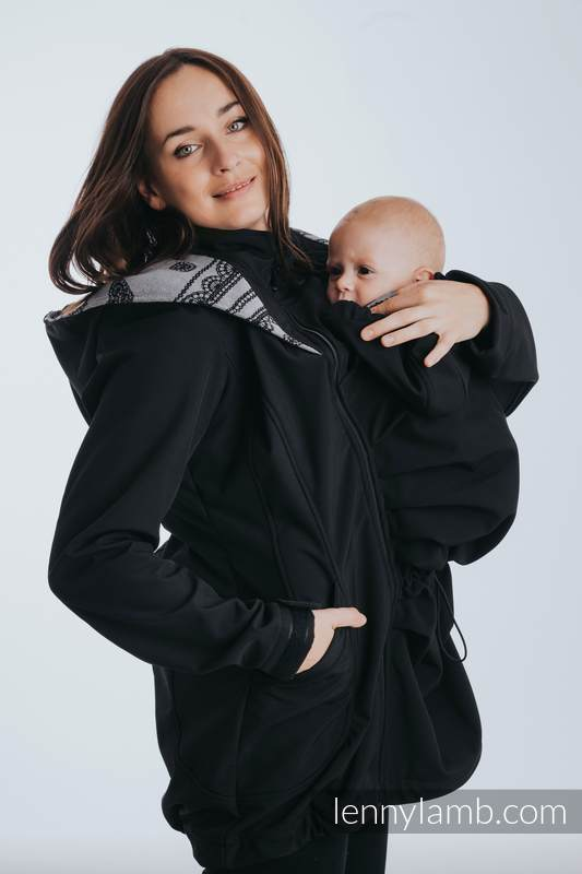 Babywearing Coat - Softshell - Black with Glamorous Lace Revers - size 5XL #babywearing
