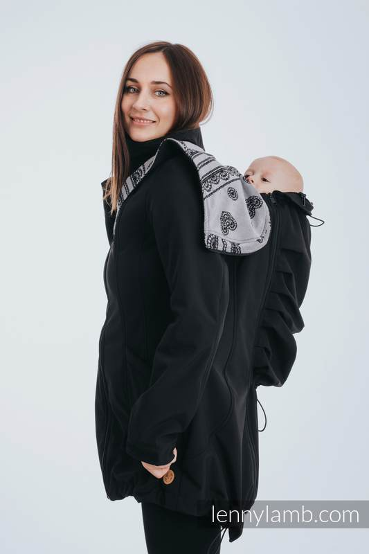 Babywearing Coat - Softshell - Black with Glamorous Lace Revers - size L #babywearing