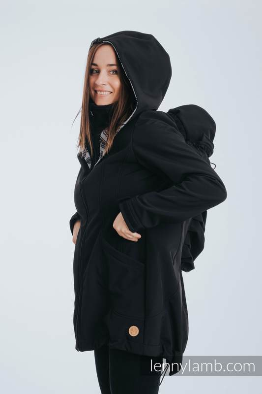 Babywearing Coat - Softshell - Black with Glamorous Lace Revers - size 4XL #babywearing