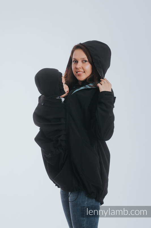Babywearing Coat - Softshell - Black with Rainbow Lace Dark - size 4XL #babywearing