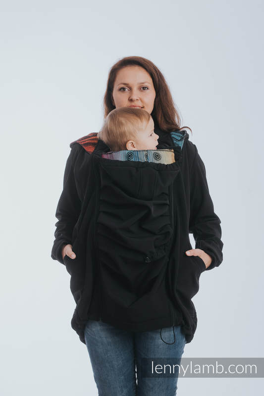 Babywearing Coat - Softshell - Black with Rainbow Lace Dark - size XS #babywearing