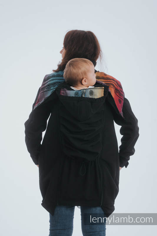 Babywearing Coat - Softshell - Black with Rainbow Lace Dark - size M #babywearing