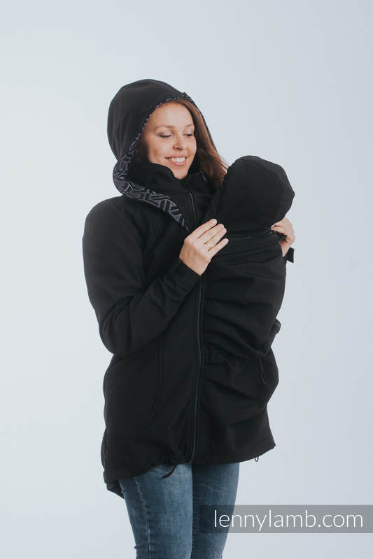 Babywearing Coat - Softshell - Black with Trinity Cosmos - size 4XL #babywearing