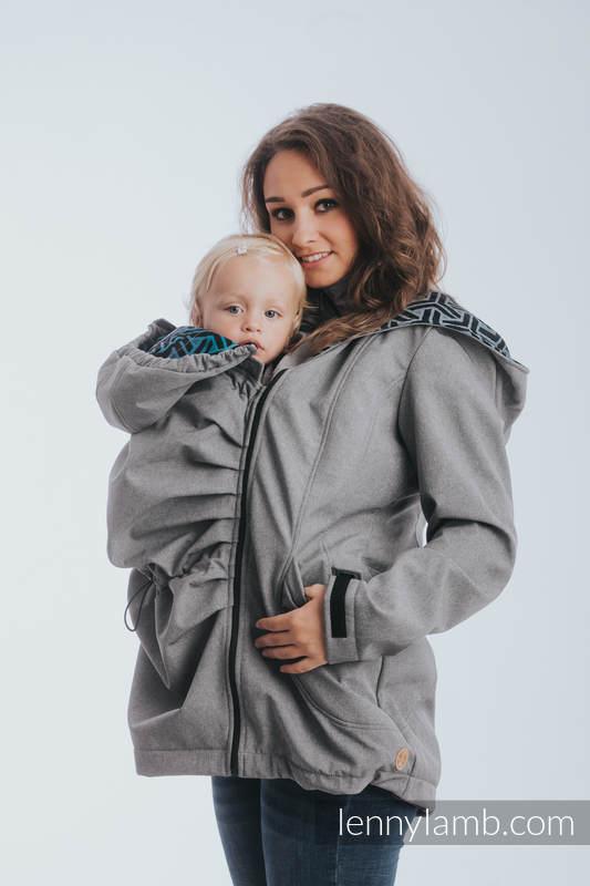 Kurtka do noszenia dzieci - Softshell - Szary Melanż z Trinity Kosmos - rozmiar 3XL #babywearing