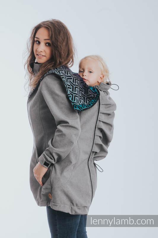 Babywearing Coat - Softshell - Gray Melange with Trinity Cosmos - size 5XL #babywearing