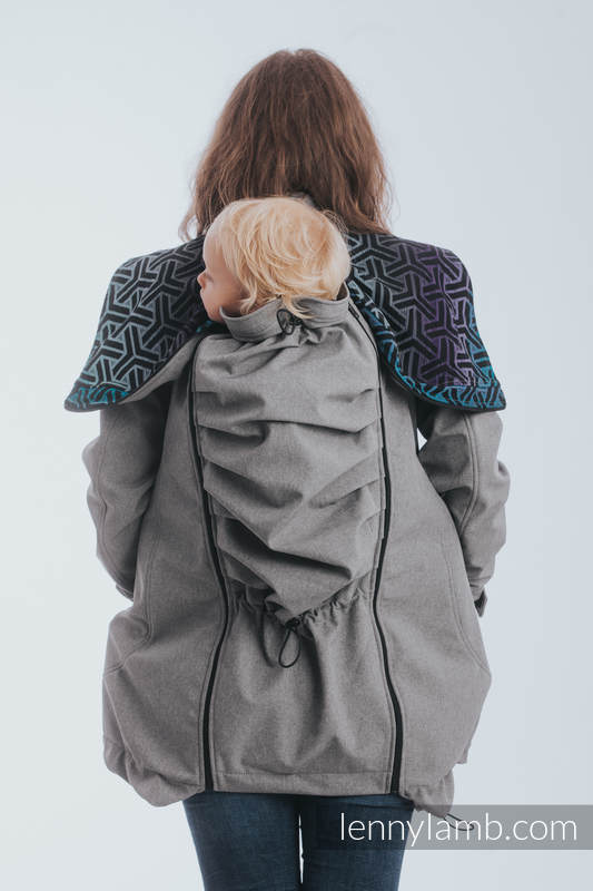 Babywearing Coat - Softshell - Gray Melange with Trinity Cosmos - size 4XL #babywearing