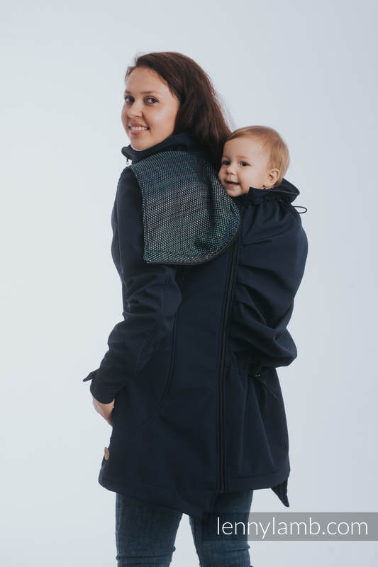 Babywearing Coat - Softshell - Navy Blue with Little Pearl Chameleon - size M #babywearing