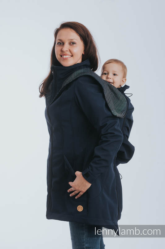Babywearing Coat - Softshell - Navy Blue with Little Pearl Chameleon - size M (grade B) #babywearing