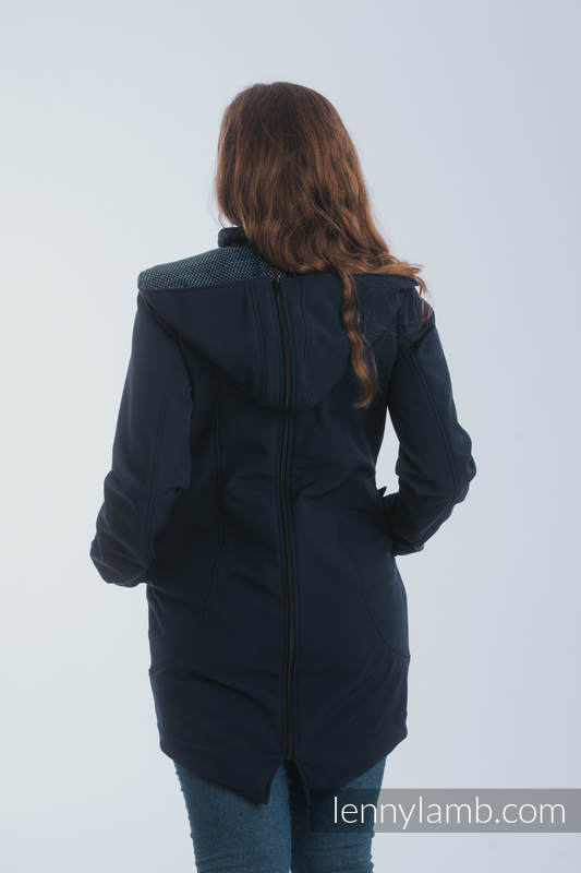 Babywearing Coat - Softshell - Navy Blue with Little Pearl Chameleon - size 4XL #babywearing