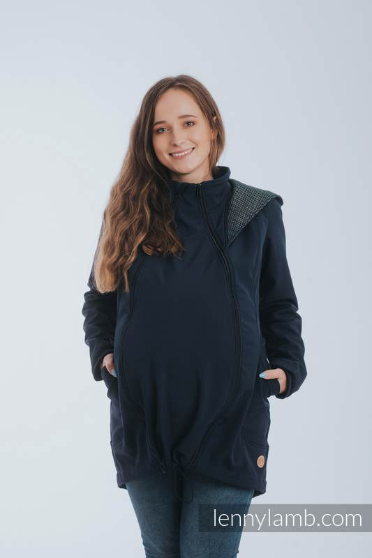 Babywearing Coat - Softshell - Navy Blue with Little Pearl Chameleon - size S (grade B) #babywearing