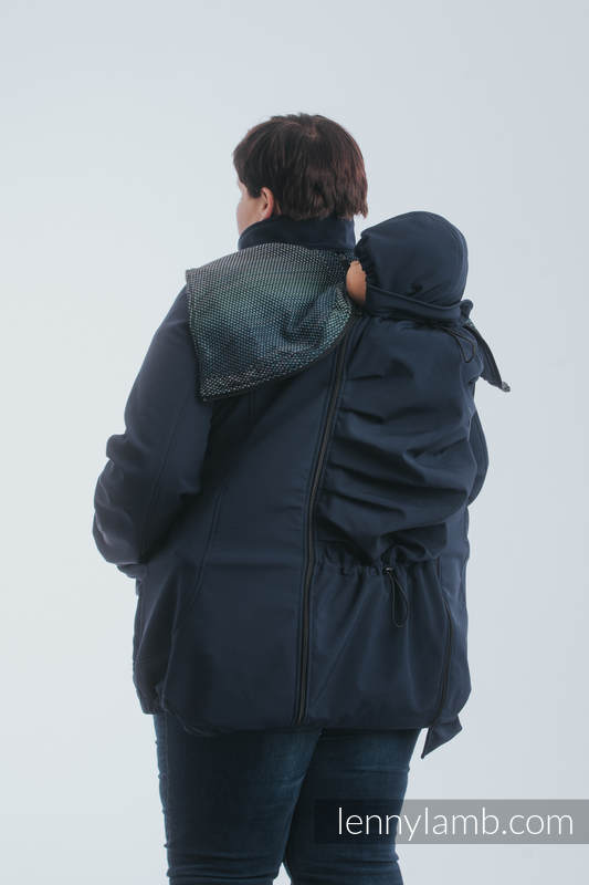 Babywearing Coat - Softshell - Navy Blue with Little Pearl Chameleon - size 3XL #babywearing