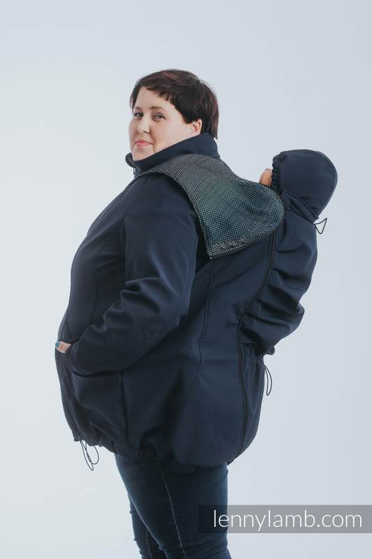 Babywearing Coat - Softshell - Navy Blue with Little Pearl Chameleon - size 5XL #babywearing