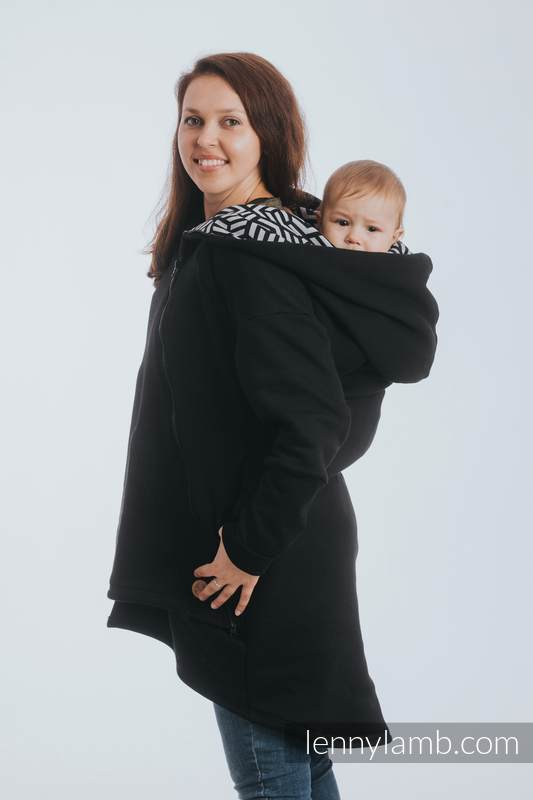 Asymmetrical Hoodie - Black with Hematite - size S #babywearing