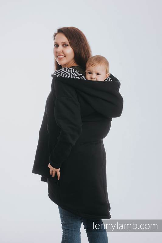 Asymmetrical Hoodie - Black with Hematite - size 6XL #babywearing