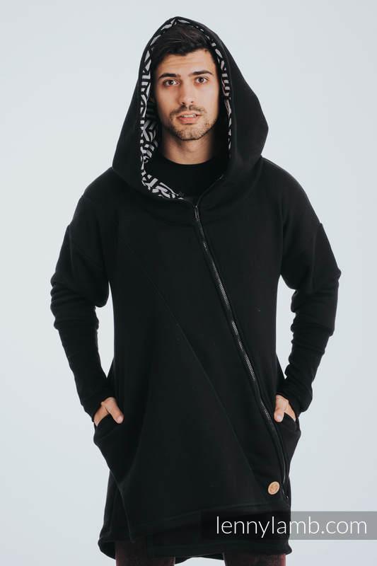 Asymmetrical Hoodie - Black with Hematite - size 5XL #babywearing