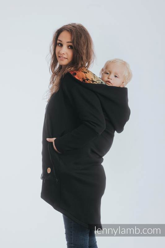 Asymmetrical Hoodie - Black with Symphony Rainbow Dark - size S #babywearing