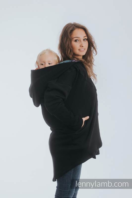 Asymmetrical Hoodie - Black with Symphony Rainbow Dark - size M #babywearing