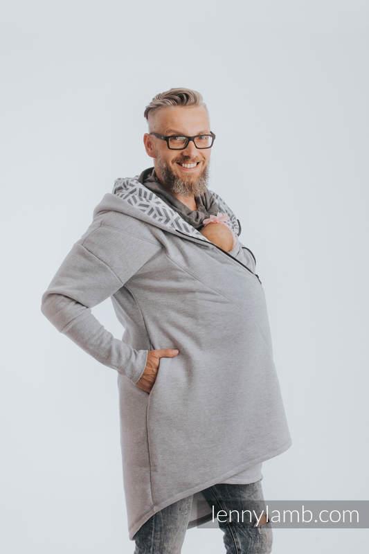 Asymetryczna Bluza - Szary Melanż z Perłą - rozmiar 3XL #babywearing
