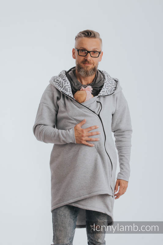 Asymmetrical Hoodie - Gray Melange with Pearl - size 5XL #babywearing