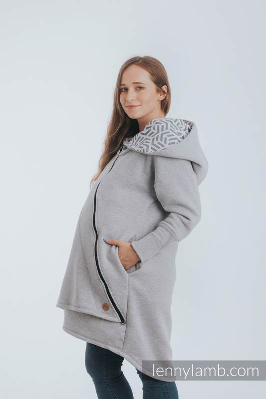 Asymmetrical Hoodie - Gray Melange with Pearl - size 3XL #babywearing