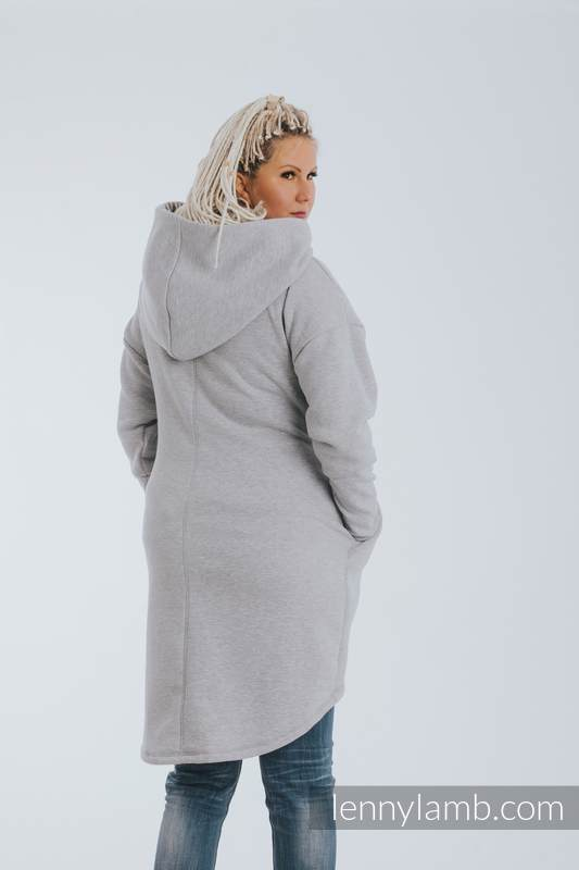 Asymmetrical Hoodie - Gray Melange with Pearl - size L #babywearing