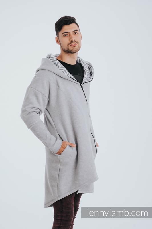 Asymmetrical Hoodie - Gray Melange with Pearl - size S #babywearing