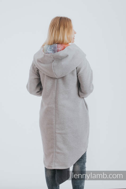 Asymmetrical Hoodie - Gray Melange with Symphony Rainbow Light - size XL #babywearing