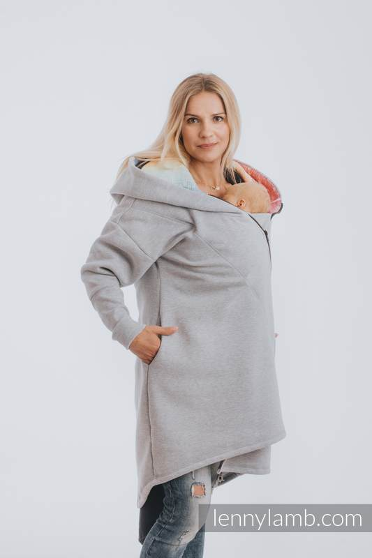 Asymmetrical Hoodie - Gray Melange with Symphony Rainbow Light - size 3XL #babywearing