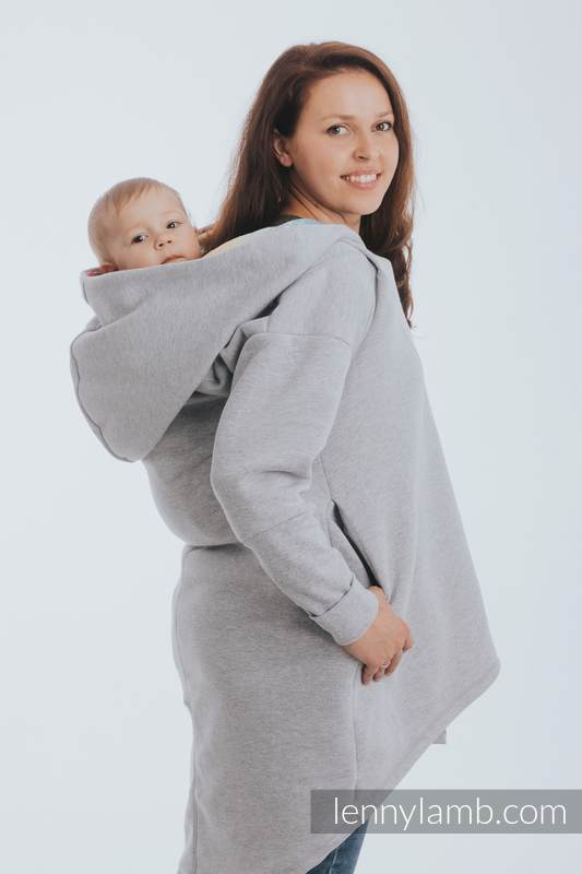 Asymmetrical Hoodie - Gray Melange with Symphony Rainbow Light - size L #babywearing