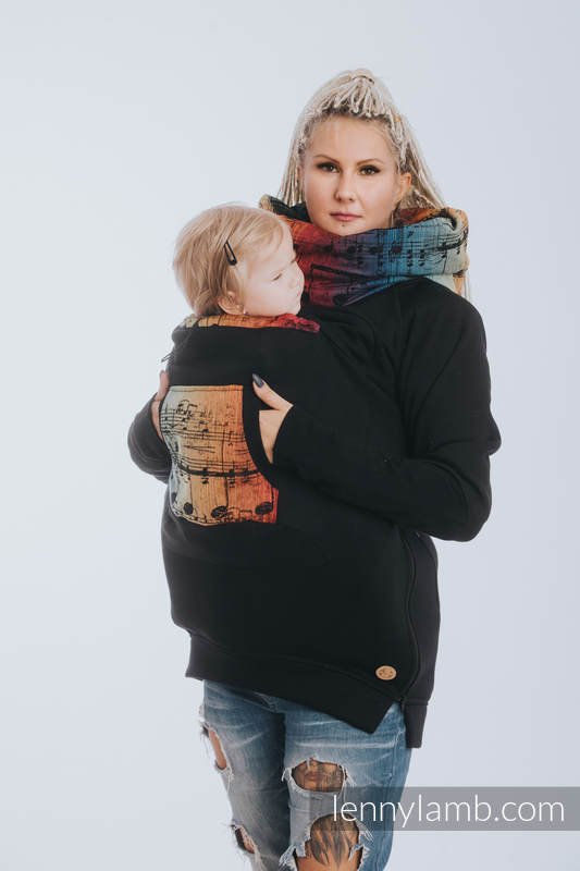 Babywearing Sweatshirt 3.0 - Black with Symphony Rainbow Dark - size S #babywearing