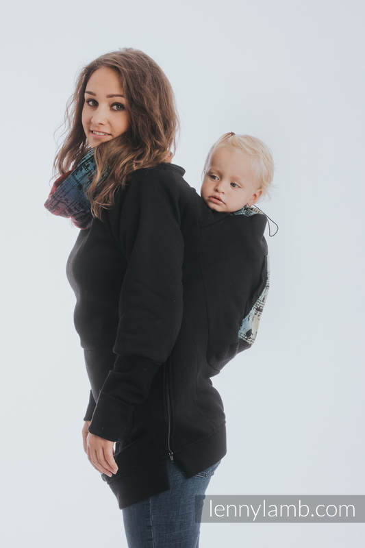 Sudaderas de porteo 3.0 - Negro con Symphony Rainbow Dark - talla L #babywearing