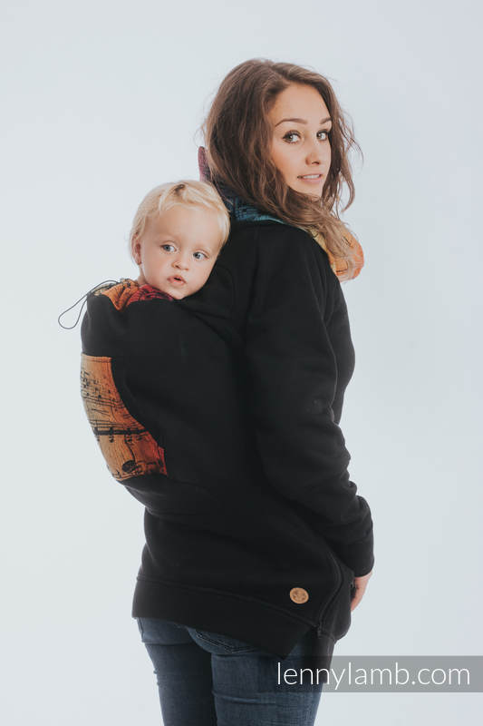 Babywearing Sweatshirt 3.0 - Black with Symphony Rainbow Dark - size XL #babywearing