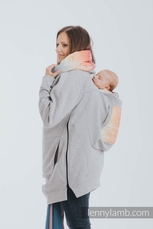 Babywearing Sweatshirt 3.0 - Gray Melange with Symphony Rainbow Light - size L #babywearing
