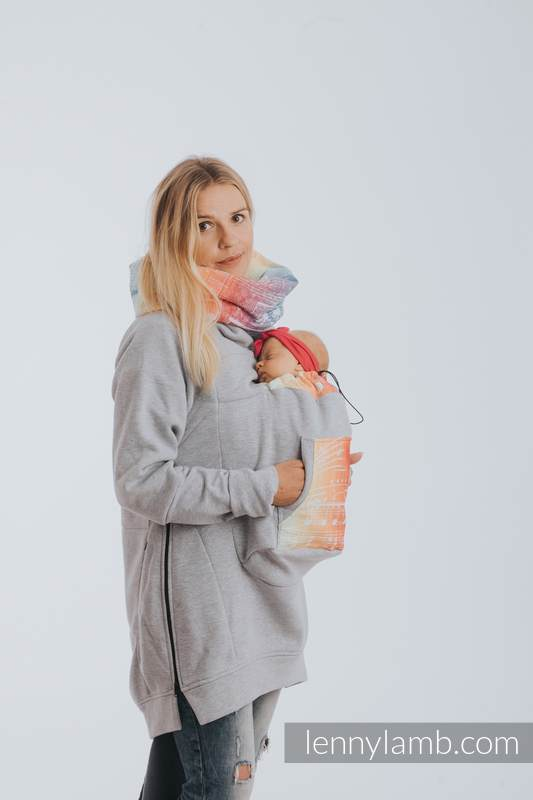 Babywearing Sweatshirt 3.0 - Gray Melange with Symphony Rainbow Light - size 3XL #babywearing