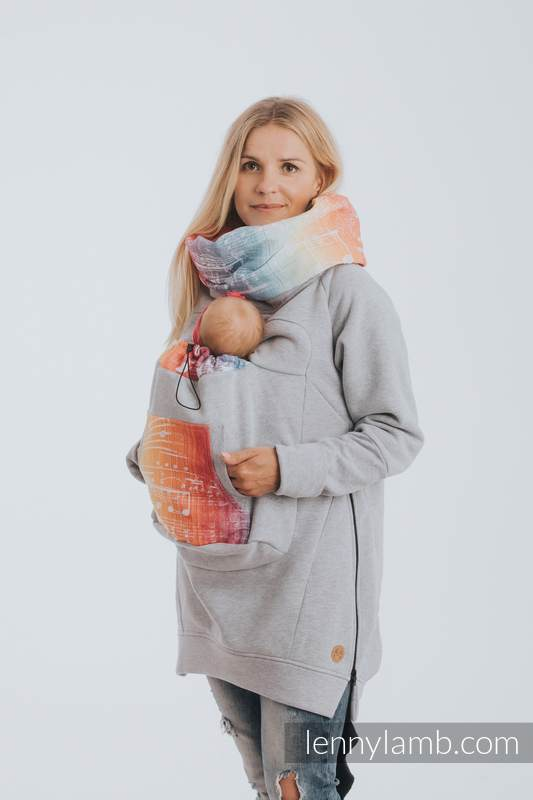 Babywearing Sweatshirt 3.0 - Gray Melange with Symphony Rainbow Light - size 5XL #babywearing