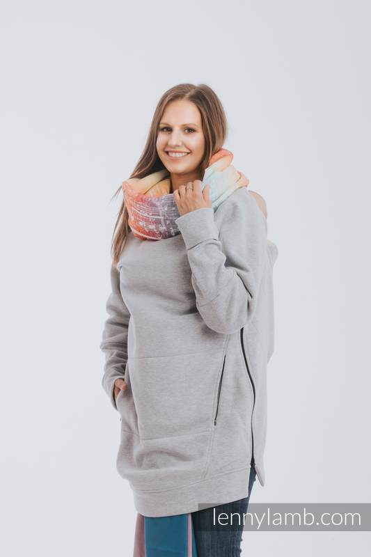 Babywearing Sweatshirt 3.0 - Gray Melange with Symphony Rainbow Light - size 6XL #babywearing