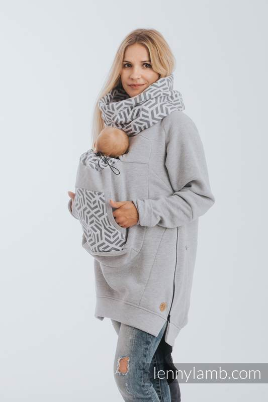 Tragepullover 3.0 - Graue Melange mit Pearl - Größe 5XL #babywearing